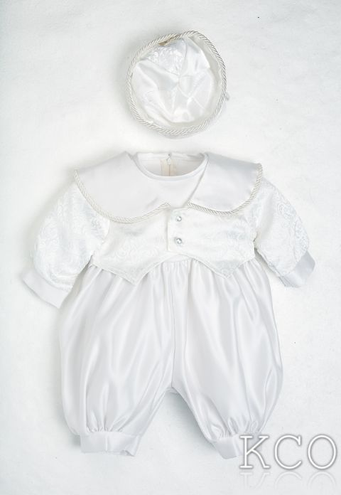 Regal Brocade Romper White~ Boys Suits